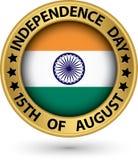 Indisk självständighetsdagen 15th av Augusti den guld- etiketten, vektorillust Fotografering för Bildbyråer
