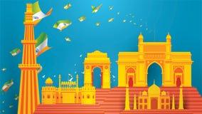 Indisk självständighetsdagendesign för bakgrund eller baner eller hälsning och affisch vektor illustrationer