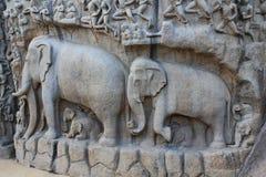 Indisk skulpturkonst, Mahabalipuram Royaltyfri Foto