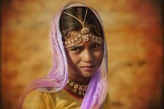 Indisk stam- flicka från Pushkar Arkivfoton