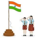Indisk student som saluterar flaggan av Indien Arkivbilder
