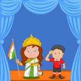 Indisk syskongrupp med flaggan av Indien Fotografering för Bildbyråer