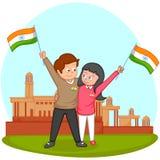 Indisk syskongrupp med flaggan av Indien Royaltyfri Bild