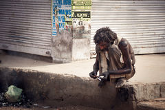 Indisk tiggare Arkivfoto