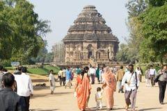 indisk turist för konaraksuntempel Royaltyfri Foto