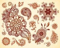 Indisk uppsättning för blom- prydnader för mehnditatueringstil Fotografering för Bildbyråer