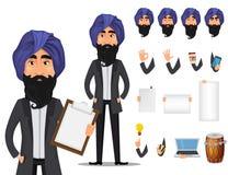 Indisk uppsättning för skapelse för tecken för tecknad film för affärsman stock illustrationer