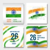 Indisk vattenfärg för nationell dag, lågt som är poly, flagga vektor illustrationer