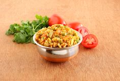 Indisk vegetarisk mat för tomatrispilaff arkivbild