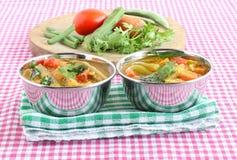 Indisk vegetarisk maträtt för trumpinneSambar i stålbunkar Arkivfoto