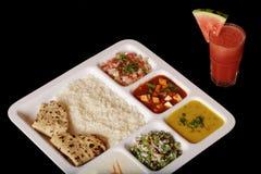 Indisk vegetarisk thali. royaltyfria foton