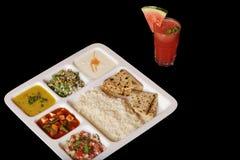 Indisk vegetarisk thali. royaltyfri foto
