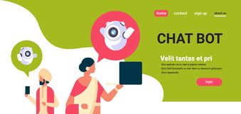 Indiska bubblor för anförande för kommunikationen för roboten för chatbot för parmankvinnan som använder grejer stöttar direktans vektor illustrationer