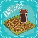 Indiska djupa steka sötsaker Jalebi eller Zulbia stock illustrationer