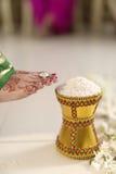 Indiska hinduiska den skrivande in brudgummens för bruden hem, når det har gifta sig vid den driftiga krukan, fyllde med ris med h royaltyfria foton