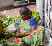 Indiska kvinnor som säljer grönsaker i en marknad Arkivfoton