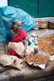Indiska kvinnor som säljer jordnötter på gatamarknadsstället Fotografering för Bildbyråer
