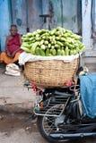 Indiska män som säljer greengroceryen på gatamarknadsstället Arkivbild