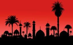 Indiska monument och palmträd vektor illustrationer