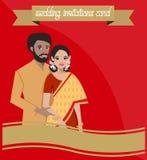 Indiska par på bröllopinbjudankort stock illustrationer
