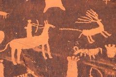 Indiska petroglyphs, tidning vaggar den statliga historiska monumentet, Utah, USA Arkivbild