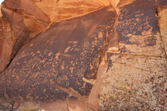 Indiska petroglyphs, tidning vaggar den statliga historiska monumentet, Utah, USA Arkivfoton