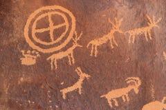 Indiska petroglyphs, tidning vaggar den statliga historiska monumentet, Utah, USA Royaltyfri Foto