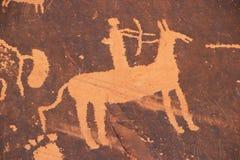 Indiska petroglyphs, tidning vaggar den statliga historiska monumentet, Utah, USA Royaltyfri Bild