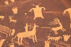 Indiska petroglyphs, tidning vaggar den statliga historiska monumentet, Utah, USA Royaltyfria Bilder