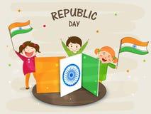 Indiska republikdagberömmar med gulliga ungar Fotografering för Bildbyråer