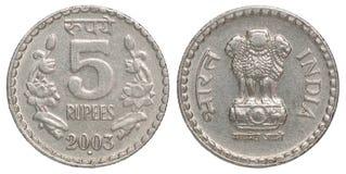 Indiska rupier mynt Arkivfoton