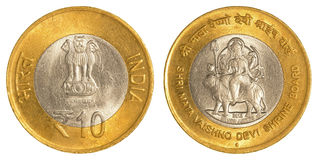 10 indiska rupier mynt Fotografering för Bildbyråer