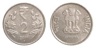2 indiska rupier mynt Fotografering för Bildbyråer