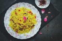 Indiska söta saffranris-/Zarda ris Royaltyfri Foto