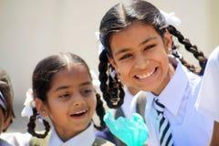 Indiska skolaflickor Arkivbilder