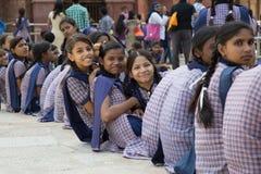 Indiska skolaflickor Royaltyfria Bilder