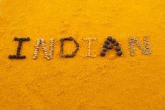 indiska skrivna turmericord Arkivbild