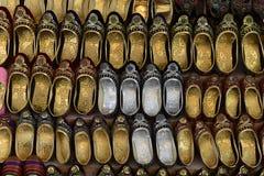 Indiska traditionella skor på skärm Royaltyfri Fotografi