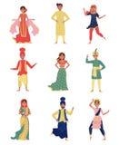 Indiska unga män och kvinnor i nationella dräkter ställde in, folk i östlig traditionell klädervektorillustration på a royaltyfri illustrationer