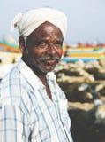 Indiskt fiskareKerela India Tranquil begrepp arkivfoton