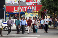Indiskt folk i Kolkata, Indien Royaltyfri Foto