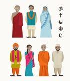 Indiskt folk - olik indisk klosterbroder stock illustrationer