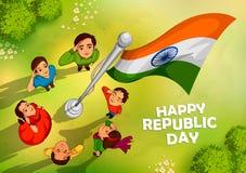 Indiskt folk som saluterar flaggan av Indien med stolthet på lycklig republikdag royaltyfri illustrationer