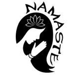 Indiskt hälsningbaner Namaste med konturn av den unga kvinnan Royaltyfria Bilder