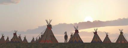 Indiskt läger på skymning stock illustrationer
