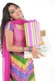 indiskt slitage för härlig flicka för klänning etnisk royaltyfria bilder