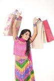 indiskt slitage för härlig flicka för klänning etnisk Arkivbild