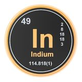 Indium In chemical element. 3D rendering. Isolated on white background vector illustration