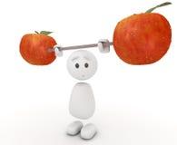 Indivíduo 3d bonito que levanta uma maçã Imagens de Stock Royalty Free
