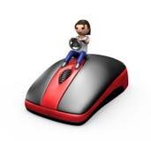 indivíduo 3d que conduz um rato do PC Imagens de Stock
